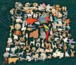 115 Vintage to Mod Rhinestone Enamel Animal Brooch Lot Dog Cat Bird Sterling HAR