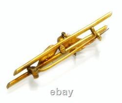 14K Vintage Designer Rose Gold Bird Brooch