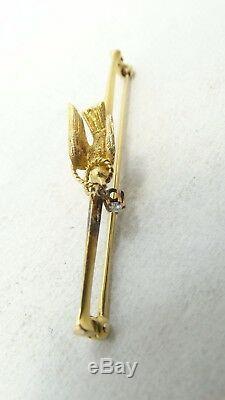 14K Yellow Gold Bird Holding Diamond Vintage Brooch Pin 3.8g A6197