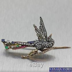 1830s Antique Victorian Silver Diamond Sapphire Emerald Ruby Bird Brooch Pin Y8