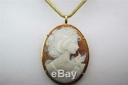 18k Vintage Estate Beautiful Young Woman With Bird Sardonyx Cameo Pendant/brooch