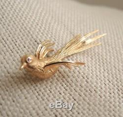 1930s 14k Gold Bird Brooch Engel Bros Ruby Eye Lapel Pin Rare Estate Vtg 3.7g