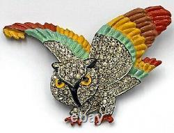 1930s Owl Figural BroochTremblerRhinestonesEnamelPot MetalBirdUnique