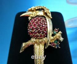1950s VINTAGE BOUCHER 9019P GOLD PLATE RUBY RED RHINESTONES EXOTIC BIRD BROOCH