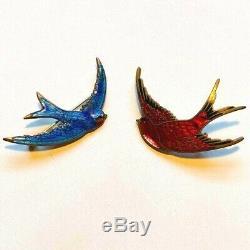 1 Enamel Bluebird or Red Robin pin Antique Guilloche blue bird brooch victorian
