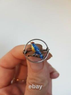 225z Edwardian antique silver blue enamel bird brooch