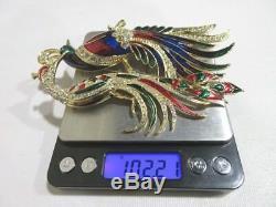 2 Vintage LARGE Peacock Crane Birds Enamel Rhinestone Costume Brooch Pins