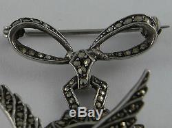 3D Fabulous Vintage Art Deco Solid Silver Marcasite Bird Brooch Pendant