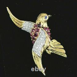 $5,250 Vintage 18K Gold Pigeon Blood Ruby Pave Diamond Flying Bird Pin Brooch