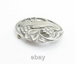 925 Sterling Silver Vintage Antique Floral Grape Vine Bird Brooch Pin BP1441