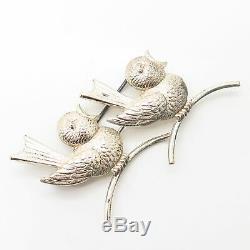 925 Sterling Silver Vintage Forstner Chirping Chicks / Birds Design Pin Brooch