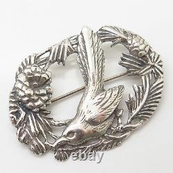 925 Sterling Silver Vintage Pecking Bird Floral Pin Brooch