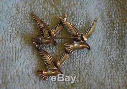 AH-009 Birds in Flight Womans Brooch Pin, Beau Sterling, Vintage 1.5-inch tall