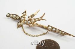 ANTIQUE AUSTRALIAN 9K GOLD PEARL SWORD & SWALLOW BIRD BROOCH c1900