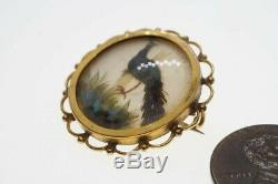 ANTIQUE ENGLISH 9K GOLD PEARL NATURAL FEATHER PEACOCK BROOCH c1900