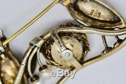 ANTIQUE VINTAGE ART DECO 835 Silver Gilt Brooch Pin PASTE & PEARL BIRDS in NEST