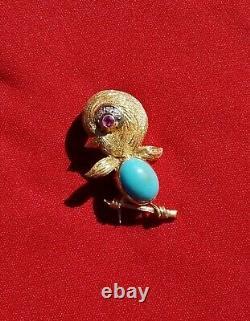 APPRAISED Vintage 1950's J ROSSI Brooch Baby Bird Jewels