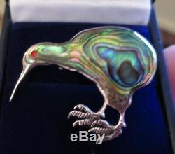 Abalone Paula Shell Kiwi Bird Sterling Silver Brooch Pin Vintage Art Deco Design