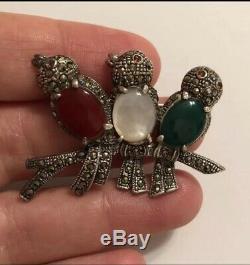 Adorable Vintage Silver Birds Brooch