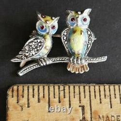 Alice Caviness Owls Pin Brooch Birds Figural Sterling Silver Marcasites Vintage