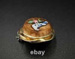 Antique 10k Gold Bird Micro Mosaic Brooch Pin, Italy, Grand Tour Souvenir