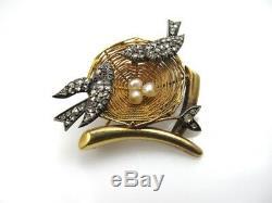 Antique 18k Gold Silver Rose Cut Diamond Bird Nest Pin Brooch Vintage