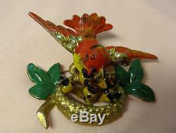 Antique 40s Made USA STAR Rhinestone Enamel Bird Feeding Babies Brooch Pin