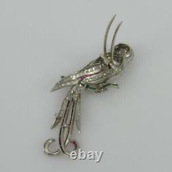 Antique 4.0ct Old Cut Diamond 3.50ct Ruby Emerald Platinum Paradise Bird Brooch