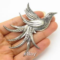 Antique 925 Sterling Silver Firebird Bird Design Large Pin Brooch