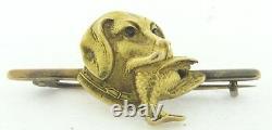 Antique Art Nouveau 18K Gold Ruby-Eyed Dog Head With Bird Brooch