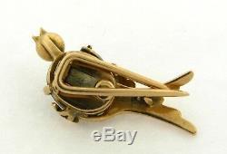 Antique Bird Brooch With Moonstone Diamonds Ruby Eye 18k Yellow Gold