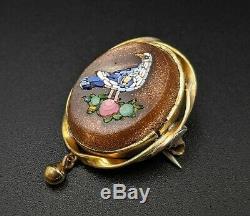Antique Bird Micro Mosaic Brooch Pin, Italy, Grand Tour Souvenir
