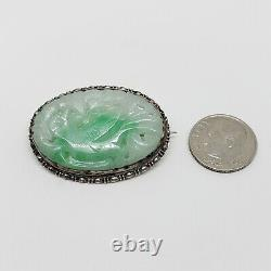 Antique Chinese Green Jadeite Jade & Silver Brooch C. 1900 Carved Bird Natural