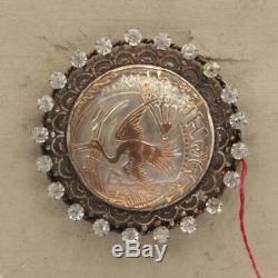 Antique Czech silver metal gilt bird glass cabochon sew on button brooch