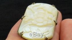 Antique Finely Carved Mother of Pearl Birds Brooch Pin C Catch Vintage Shell Sml