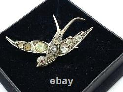 Antique French 900 Silver Diamond Paste Swallow Bird with Red Eye Brooch 7.3 gr