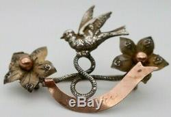 Antique French Silver BIRD RIBBON BROOCH Gilt Sterling Pin Dieppe Souvenir