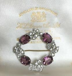 Antique Georgian Victorian Vintage Amethyst Diamond Paste Glass Bird Brooch Pin