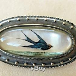 Antique Gold Reverse Carved Essex Crystal Intaglio Swallow Bird Pin Brooch