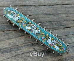 Antique Green Micro Mosaic Flower & Dove Bird Bar Brooch Pin, Grand Tour
