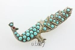 Antique Had Carved Turquoise Inlay Sterling Silver 925 Peacock Bird Brooch Pin