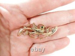 Antique Hand Carved Edwardian 14K Green & Yellow Gold Bird Brooch / Pin