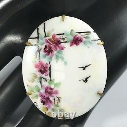 Antique Hand Painted Porcelain Brooch Floral & Birds 2 Long Brass Back EUC