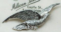 Antique Jewellery Sweet Victorian Silver Figural Flying Dove Bird Brooch/pin
