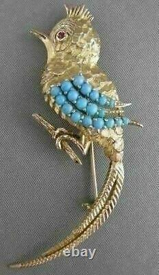 Antique Large Ruby Turquoise Filigree Song Bird 18k Yellow Gold Pin Brooch #2391