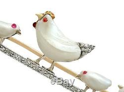 Antique Natural Pearl and Ruby Diamond and 9k Yellow Gold Bird Brooch