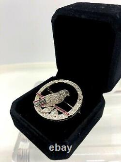 Antique Platinum diamond emerald ruby sapphire bird brooch