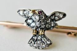 Antique Rose Cut Diamond Bird Brooch