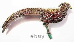 Antique Sterling Colored Paste Enamel BIRD on Branch Pin BIG Pheasant Brooch 3