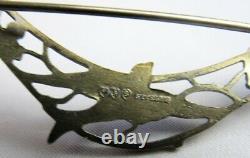 Antique Sterling Silver Blue Guilloche Enamel Bluebird Bird Trio Pin Brooch
